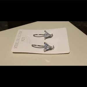 1.5 Ct. Trillion Sim Diamond French Wire Earrings